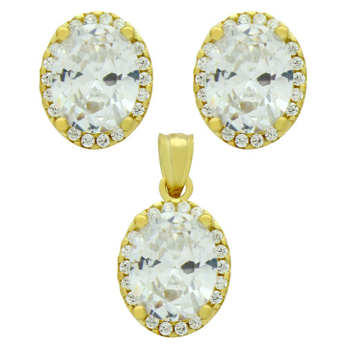 GOLD PLATED SET: 8X10MM OVAL CZ EARRINGS AND PENDANT WITH CZ HALO