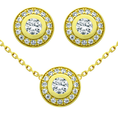 "GOLD PLATED SET: ELEGANT ROUND CZ EARRINGS AND 18"" NECKLACE"