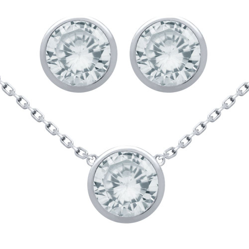 "RHODIUM PLATED SET: 7.5MM ROUND BEZEL SET CZ EARRINGS AND 16+2"" NECKLACE"