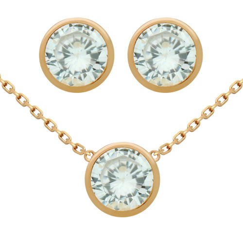 "ROSE GOLD PLATED SET: 7.5MM ROUND BEZEL SET CZ EARRINGS AND 16+2"" NECKLACE"