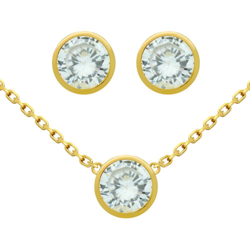 "GOLD PLATED SET: 6.5MM ROUND BEZEL SET CZ EARRINGS AND 16+2"" NECKLACE"