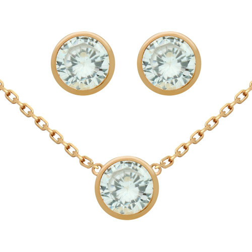 "ROSE GOLD PLATED SET: 6.5MM ROUND BEZEL SET CZ EARRINGS AND 16+2"" NECKLACE"