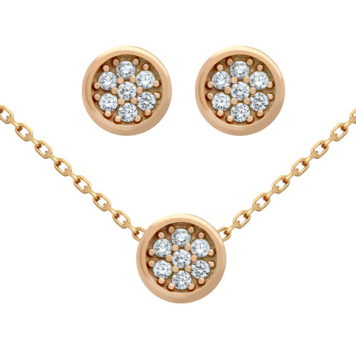 "ROSE GOLD PLATED SET: ROUND CZ CLUSTER EARRINGS AND 16+2"" NECKLACE"