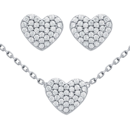 "RHODIUM PLATED SET: HEART SHAPED CZ PAVE EARRINGS AND 16+2"" NECKLACE"