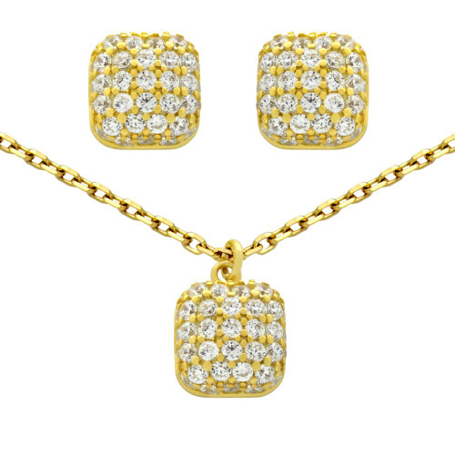 "GOLD PLATED SET: CUSHION-SHAPE CZ PAVE POST EARRINGS AND 16+2"" NECKLACE"