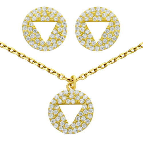"GOLD PLATED SET: CUTOUT TRIANGLE ON CZ DISK STUD EARRINGS AND 16+2"" NECKLACE"
