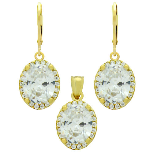 GOLD PLATED SET: 8X10MM OVAL CZ EARRINGS AND PENDANT WITH CZ HALO FISH HOOK DANGELING