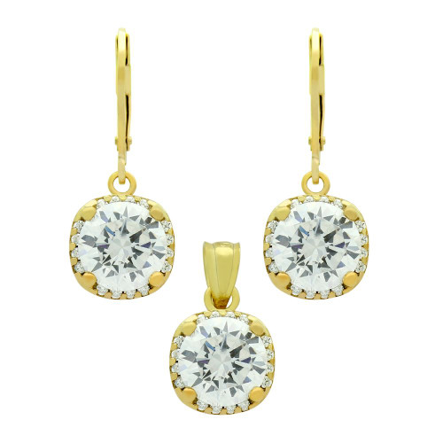 GOLD PLATED SET: 9MM ROUND CZ IN SQUARE DESIGN EARRINGS AND PENDANT, WITH CZ HALO