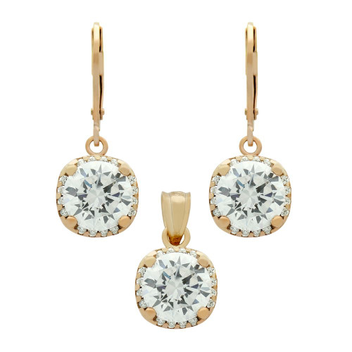 ROSE GOLD PLATED SET: 9MM ROUND CZ IN SQUARE DESIGN EARRINGS AND PENDANT, WITH CZ HALO