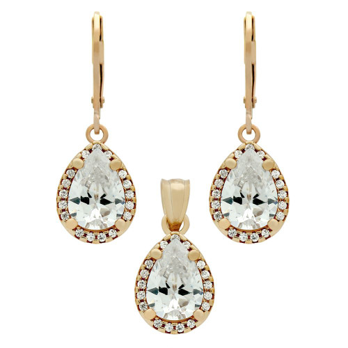 ROSE GOLD PLATED SET: 10MM TEARDROP CZ EARRINGS AND PENDANT, WITH CZ HALO