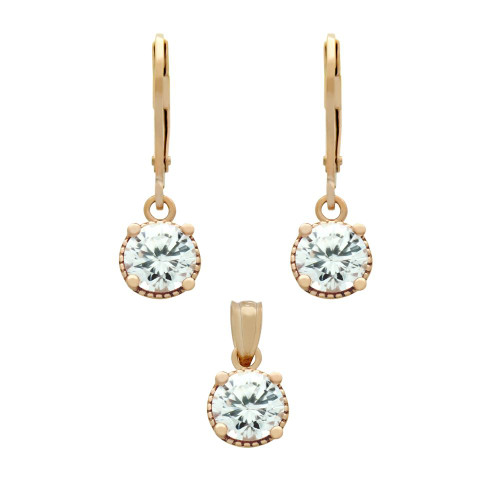 ROSE GOLD PLATED SET: 6.5MM ROUND CZ EARRINGS AND PENDANT