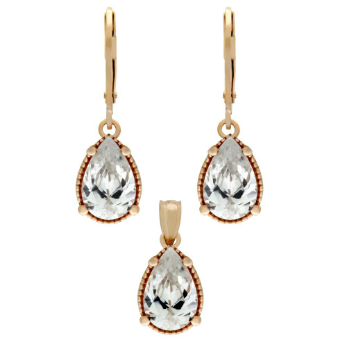 ROSE GOLD PLATED SET: 9MM TEARDROP CZ EARRINGS AND PENDANT