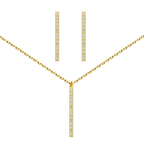 "GOLD PLATED SET: 23MM LONG CZ PAVE BAR EARRINGS AND 16+2"" NECKLACE"