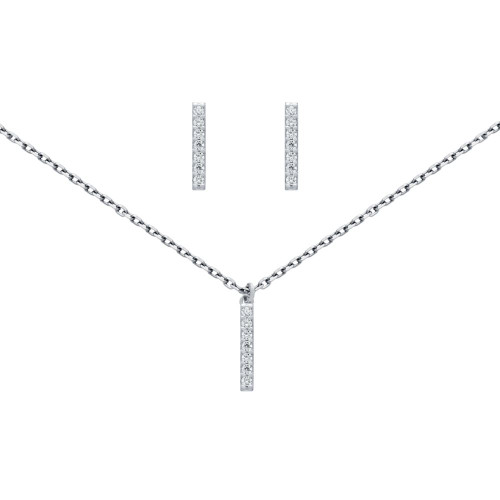 "RHODIUM PLATED SET: 13MM LONG CZ PAVE BAR EARRINGS AND 16+2"" NECKLACE"