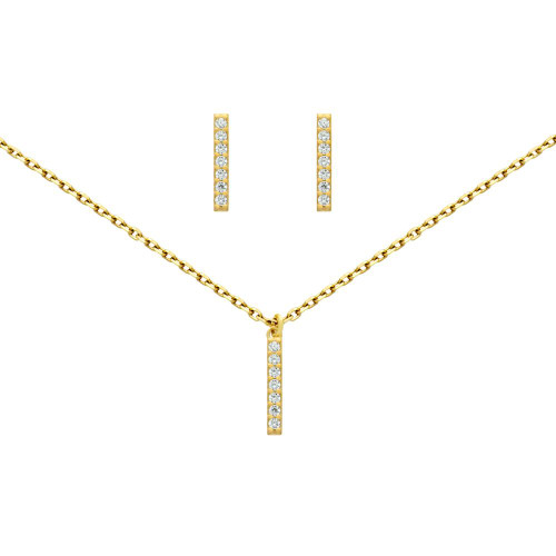 "GOLD PLATED SET: 13MM LONG CZ PAVE BAR EARRINGS AND 16+2"" NECKLACE"