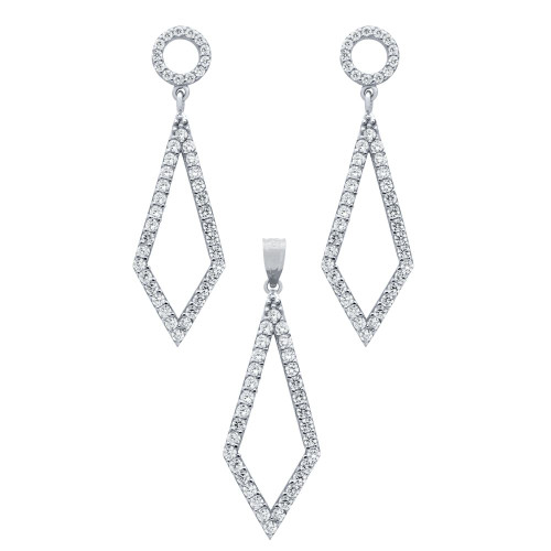 RHODIUM PLATED SET: KITE SHAPED OUTLINE CZ PAVE EARRINGS AND PENDANT