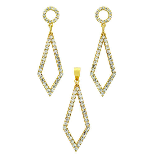 GOLD PLATED SET: KITE SHAPED OUTLINE CZ PAVE EARRINGS AND PENDANT