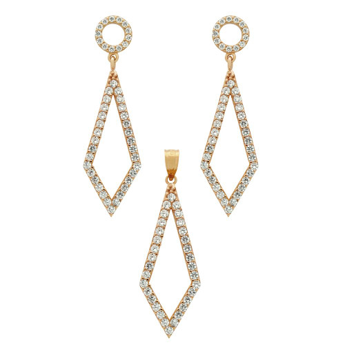 ROSE GOLD PLATED SET: KITE SHAPED OUTLINE CZ PAVE EARRINGS AND PENDANT