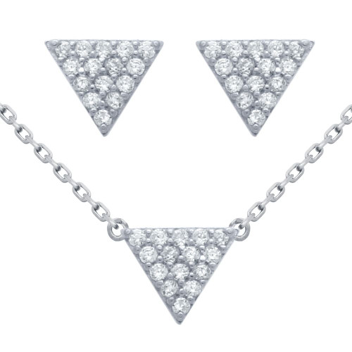 "RHODIUM PLATED SET: 5MM TRIANGLE CZ PAVE EARRINGS AND 16+2"" NECKLACE"