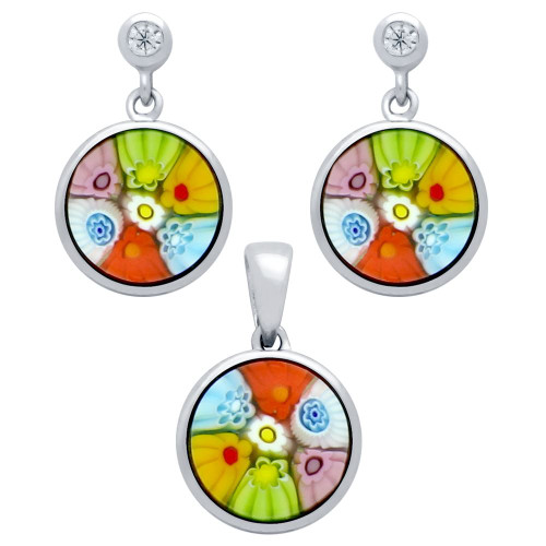 MILLEFIORI SET: MULTI-COLOR 10MM ROUND EARRINGS WITH CZ POST AND PENDANT