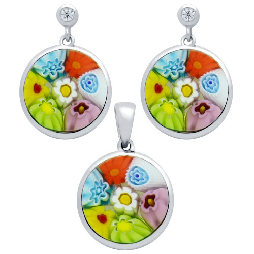 MILLEFIORI SET: MULTI-COLOR 12MM ROUND EARRINGS WITH CZ POST AND PENDANT
