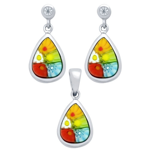 MILLEFIORI SET: MULTI-COLOR 7X10MM DROP SHAPED EARRINGS WITH CZ POST AND PENDANT