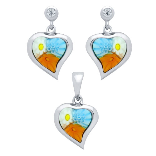 MILLEFIORI SET: MULTI-COLOR 8X8MM HEART SHAPED EARRINGS WITH CZ POST AND PENDANT