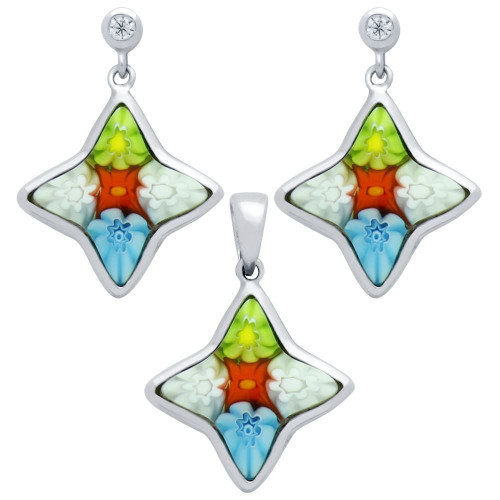 MILLEFIORI SET: MULTI-COLOR 14X15MM STAR SHAPED EARRINGS WITH CZ POST AND PENDANT