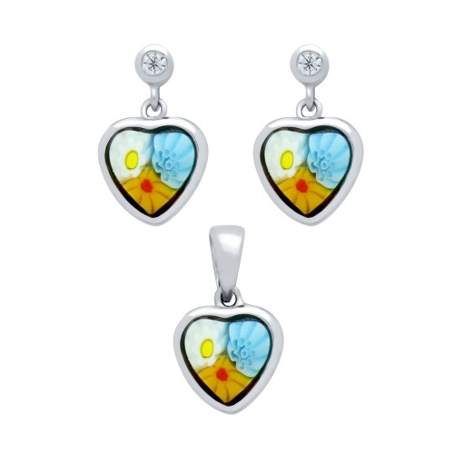 MILLEFIORI SET: MULTI-COLOR 7X7MM HEART SHAPED EARRINGS WITH CZ POST AND PENDANT