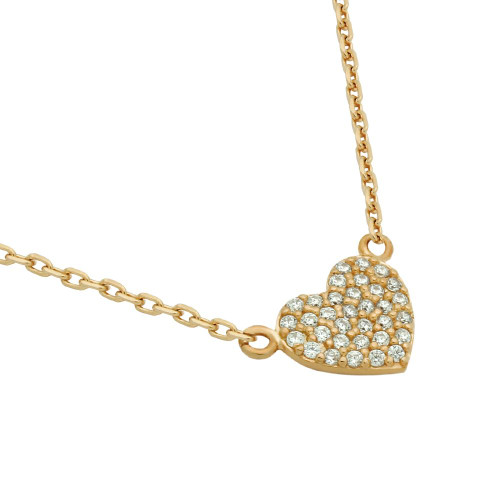 "ROSE GOLD PLATED CZ PAVE HEART NECKLACE 16"" + 2"""