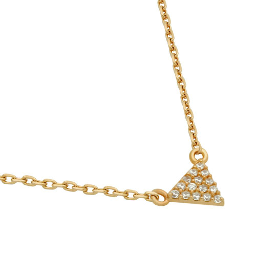 "ROSE GOLD PLATED CZ TRIANGLE NECKLACE 16"" + 2"""