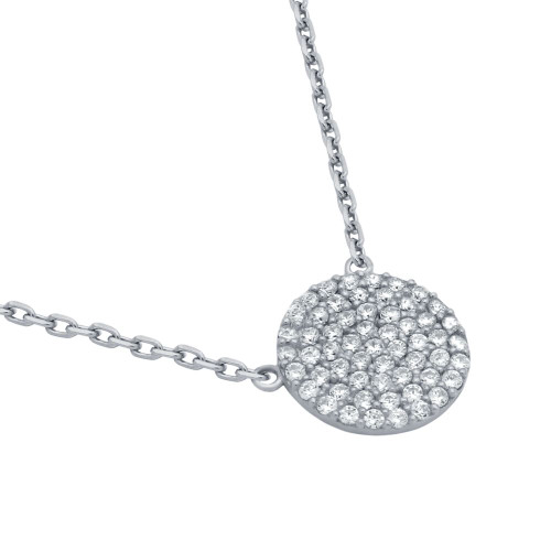 "RHODIUM PLATED 12MM CZ PAVE DISK NECKLACE 16"" + 2"""