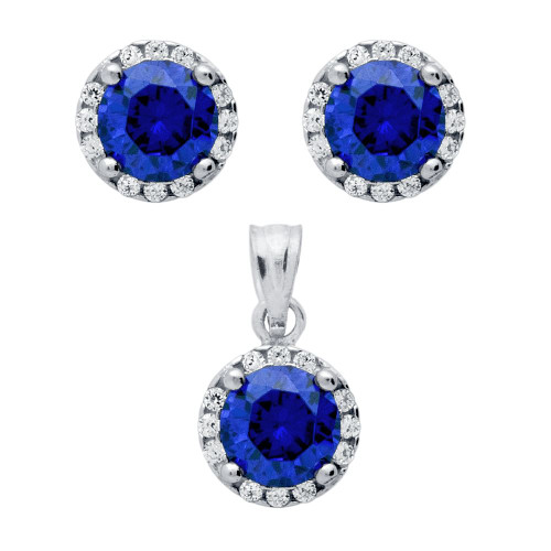 RHODIUM PLATED SET: BLUE 6.5MM ROUND CZ EARRINGS AND PENDANT WITH CZ HALO
