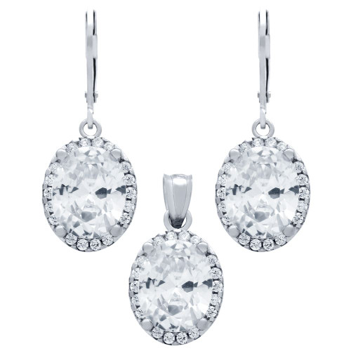 RHODIUM PLATED SET: 8X10MM OVAL CZ EARRINGS AND PENDANT WITH CZ HALO FISH HOOK DANGELING