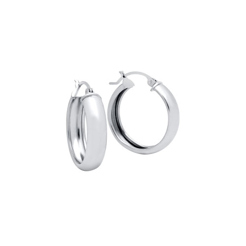 RHODIUM PLATED 23MM LIGHTWEIGHT HOOP EARRINGS