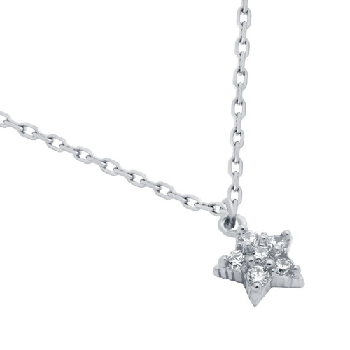 "RHODIUM PLATED STAR CZ CLUSTER NECKLACE 16"" + 2"""