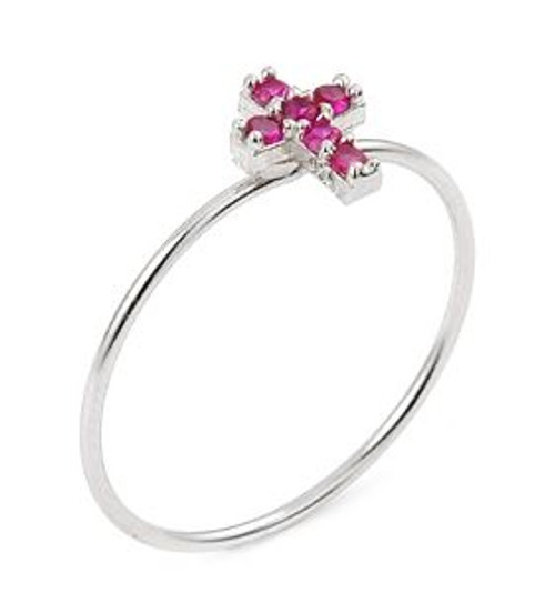 PAVE PINK CZ CROSS STACKABLE RING