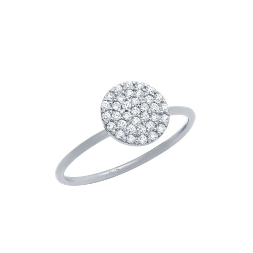 RHODIUM PLATED PAVE CZ DISK STACKABLE RING