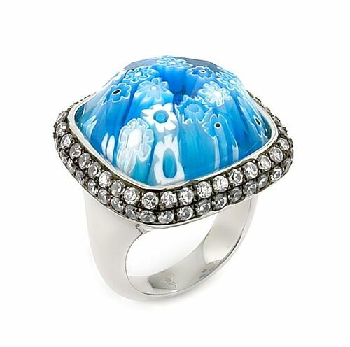 EXQUISITE COLLECTION FACETED BLUE MURANO GLASS SQUARE RING WITH CZ HALO
