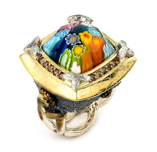 SIGNATURE COLLECTION FACETED MULTI COLOR MURANO GLASS SQUARE RING WITH BRASS AND SIGNITY CZ ACCENTS
