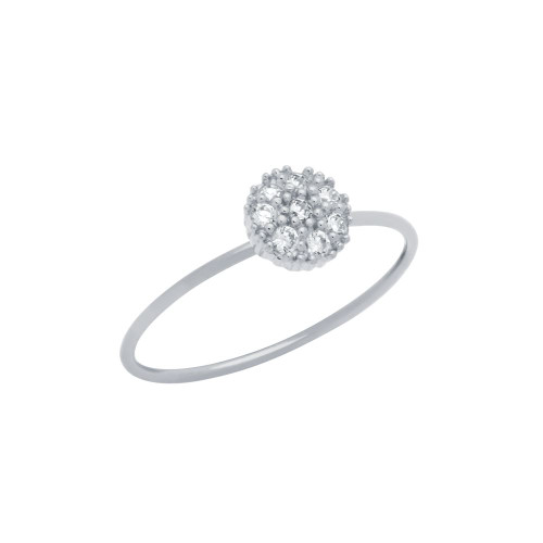 RHODIUM PLATED PAVE CLEAR CZ ROUND STACKABLE RING