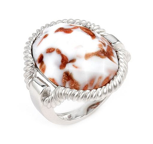 MURANO GRAND COLLECTION FACETED WHITE AND COPPER COLORED OVAL AVENTURINA RING