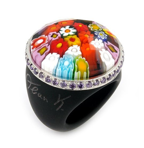 MURANO GRAND COLLECTION FACETED MULTI COLOR AND BLACK ROUND GLASS DOME RING WITH PURPLE CZS