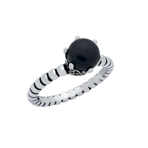 STERLING SILVER BEAD DESIGN RING WITH 5MM PRONG SET CABOCHON ONYX