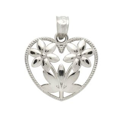 RHODIUM PLATED STERLING SILVER HEART OF FLOWERS PENDANT