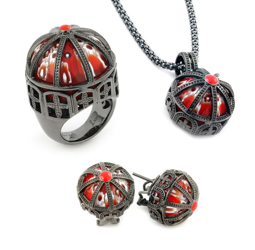 EXQUISITE COLLECTION FACETED RED ROUND MURANO GLASS BLACK RHODIUM FINISH SILVER CAGE FRAME SET