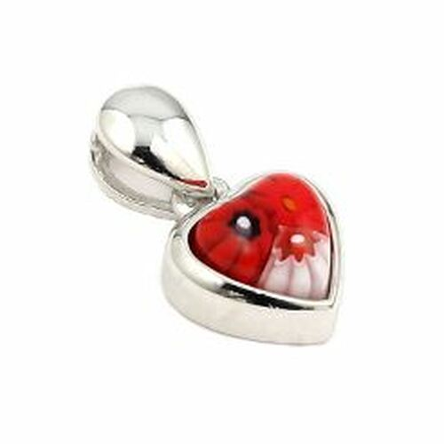 RED MURANO MILLEFIORI SMALL HEART PENDANT
