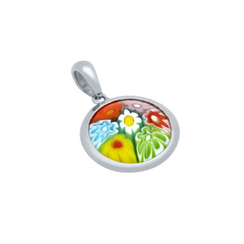 MULTICOLOR MURANO MILLEFIORI DOUBLE-SIDED 16MM ROUND PENDANT
