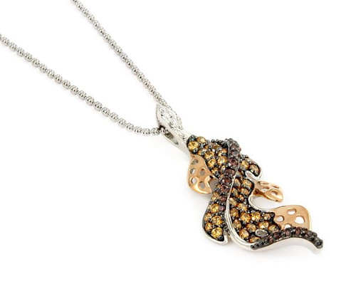"FERRONI BROWN AND CHAMPAGNE 2 TONE LEAF 18"" NECKLACE WITH COLORED ZIRCONIA BY SWAROVSKI"