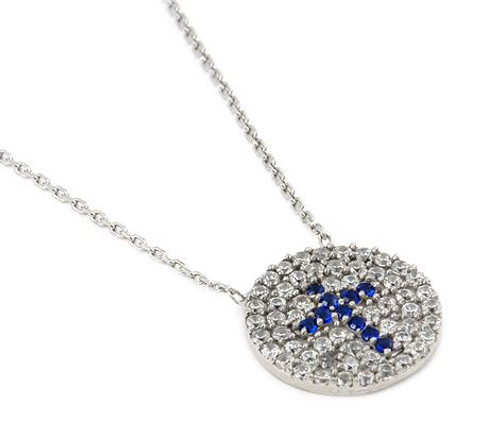 """PAVE CLEAR AND BLUE CZ ROUND CROSS NECKLACE 16""""+1"""" ADJUSTABLE"""